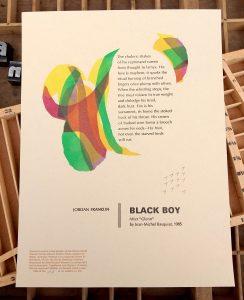 Black Boy by Jordan Franklin printed at Caveworks Press