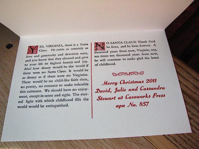 caveworks press christmas card inside