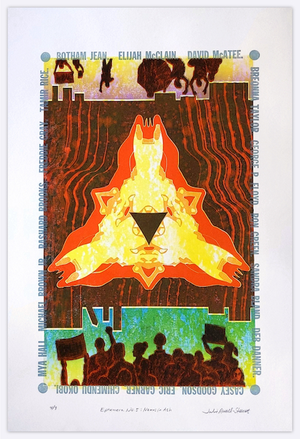 """Print: """"Names in Ash : Ephemera No. 5"""" A fiery, symmetrical triangular area with a dark center with figures that are silhouettes at top and bottom. A drawing like treatment over red on the figures, some of which hold signs. The figures at the top are upside down and feature an umbrella holder protecting from tear gas. A rectangular city-like horizon at top and bottom between figures and fire. The names of only a few killed by police surround the print in gray."""