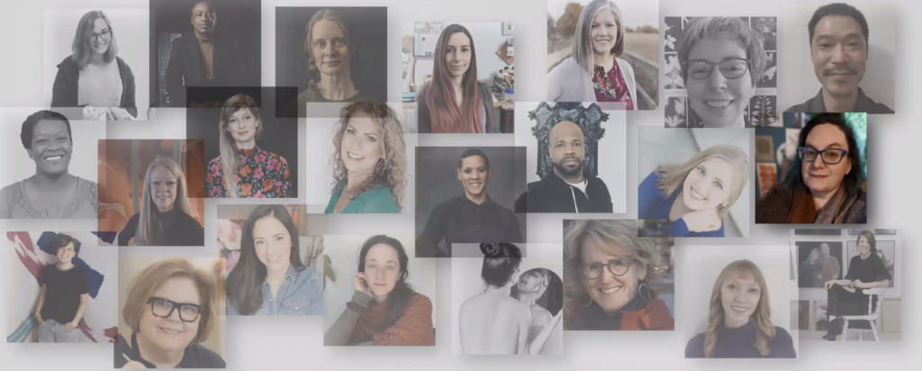 A light colored collage of the artists in the Artist INC Des Moines cohort, with Julie's image on the far right bolder. She has dark brown hair and glasses, in front of her studio wall and green curtained window.