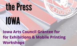The promo from Instagram for the grant Power of the Press IOWA, which has the Caveworks Logo in white over the red-inked wood type, and words about the Grant for Exhibitions and Mobile Printing Workshops.