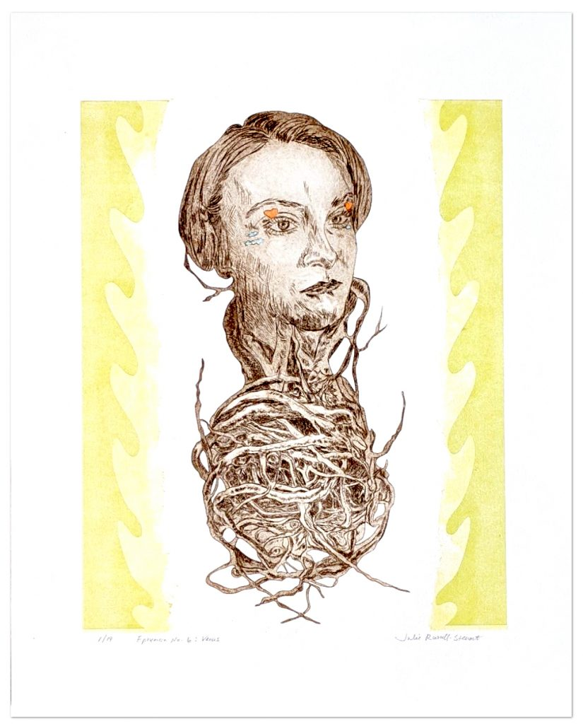 """""""Venus : Ephemera No. 6"""" drypoint etching, laser cut plates, collograph, and hand colored pencil. All printed on the Vandercook UNI III at Caveworks Press & Studios"""